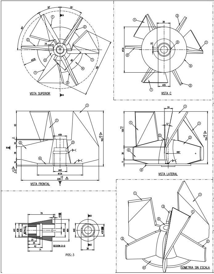 Planos turbina - fabricaciones metal mecánicas